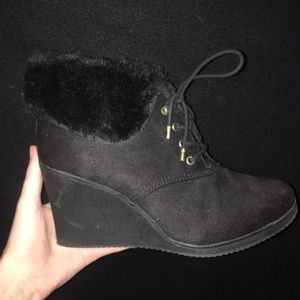 White Mountain Wedge Heels with fur